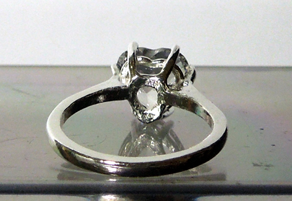 Back view of heart shaped diamond ring.