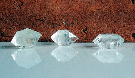 Group of natural double terminated quartz crystals.
