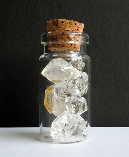 Cork topped bottle to store the gems