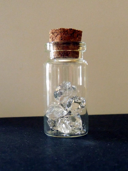 Glass vial of C grade Herkimer Diamonds