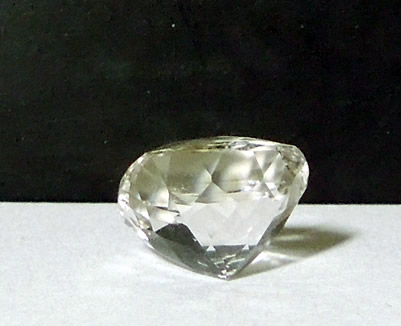 Back view of 4 ct. cushion cut gem.