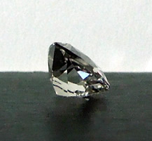 Side view of a beautiful cushion cut crystal.