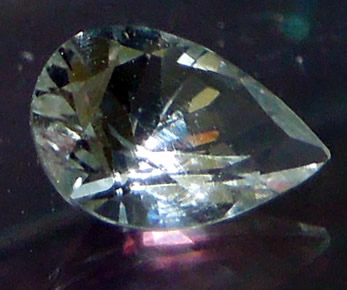 Sparkle view of the clear pear cut crystal.