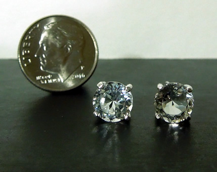 Front view of 2.5 ct. earrings.