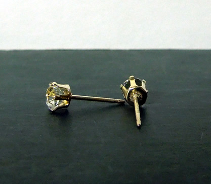 Earring settings in 14k gold with cut Herkimer Diamonds.