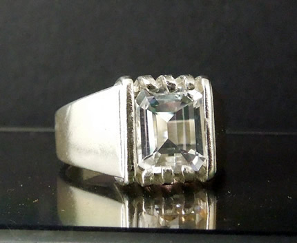 Elegant crystal clear emerald cut ring.