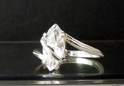Elegant marquise cut Herkimer Diamond ring.