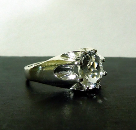 Beautifully faceted herkimercrystal ring.