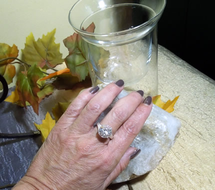 A model wears a Herkimer Diamond ring.