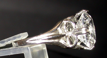 Side view of sterling ring setting