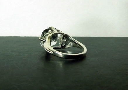 Back view of sterling silver ring.