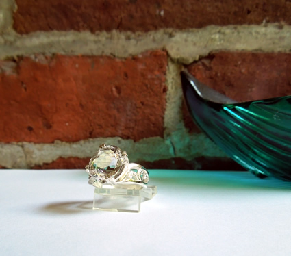 Herkimer Diamond oval cut cocktail or statement ring.