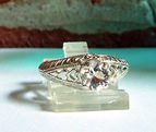 Herkimer Diamond in Fancy Filigree Ring Setting