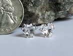 Herkimer Heart Cut Clear Crystal Stud Earrings