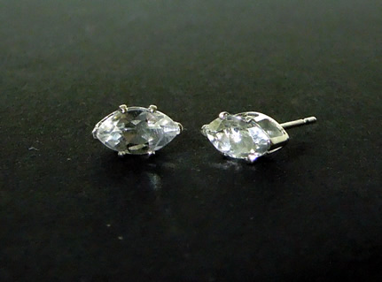 Front view of diamond earrings.