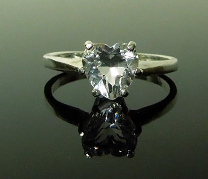 Beautiful heart shaped Herkimer crystal ring.