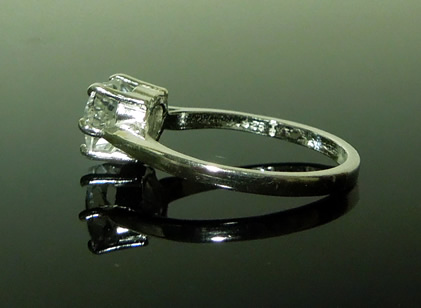 Side view heart cut diamond ring.