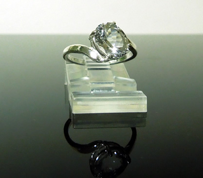 Beautiful 1.75 ct. oval cut Herkimer crystal ring.