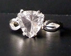 Trillion cut Herkimer Diamond ring.