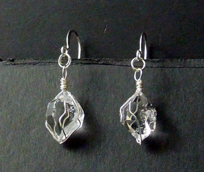 Herkimer crystals wrapped in sterling silver wire.