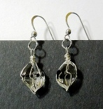 Wire wrapped Herkimer quartz crystal earrings