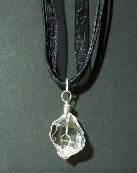 Herkimer Diamond wrapped in sterling silver wire.