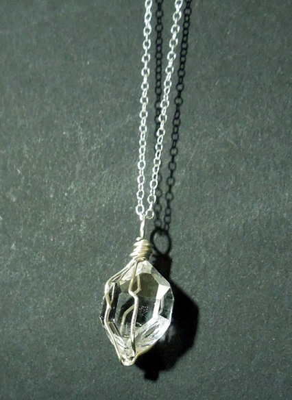 Water clear Herkimer crystal necklace.