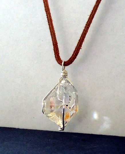 Double Terminated Herkimer Diamond Crystal Pendant