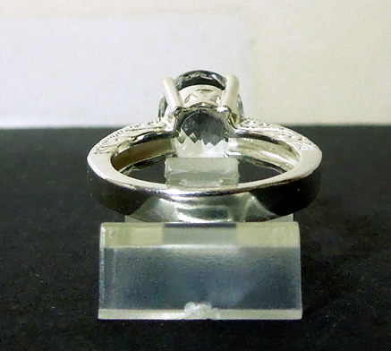 Back view of large diamond ring.
