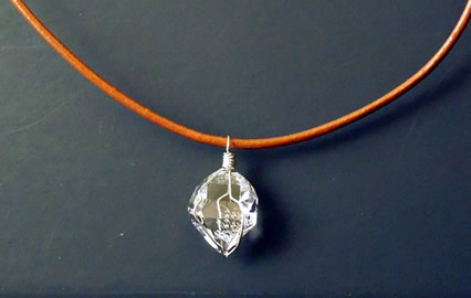 Wire wrapped Herkimer Diamond.
