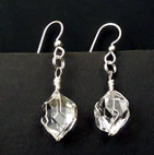 Herkimer Diamond crystal earrings in silver.