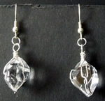 Pair of Herkimer quartz crystal earrings.