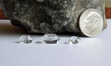 Water clear and double terminated Herkimer Diamonds.