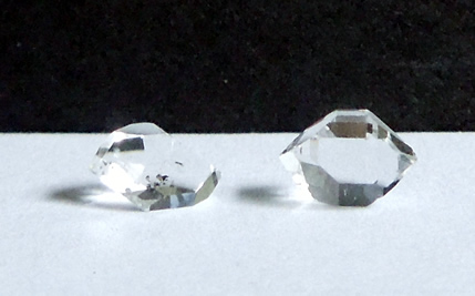 Crystal on left measures 7.75 mm