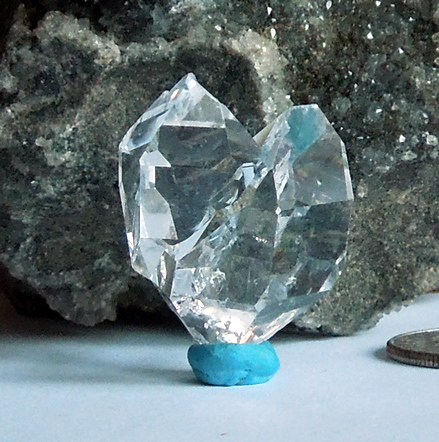 So clear the dolomite matrix shows through the quartz.