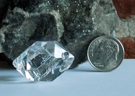 Excellent clarity allows you to see through both Herkimer crystals.