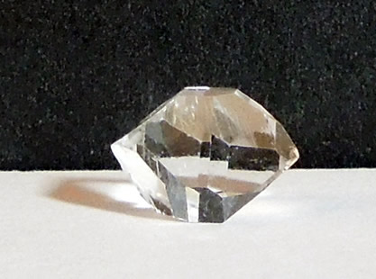 Photo of a double terminated quartz crystal.