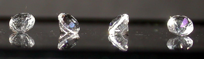Water clear, 3 mm, brilliant round cut Herkimer crystals.