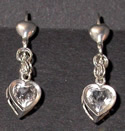 Heart shaped Herkimer Diamond earrings.