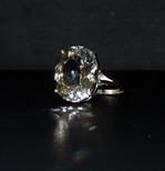 Photographs of a large Herkimer Diamond cocktail ring.