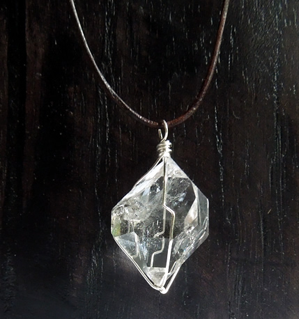 Clear natural quartz necklace.
