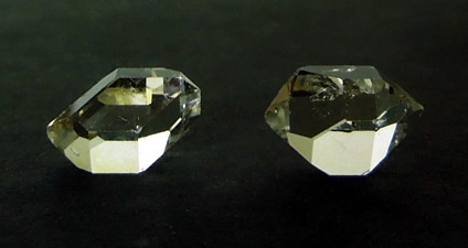 A set of clear matching Herkimer Diamond crystals.
