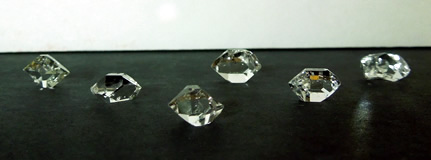 Image of six Herkimer crystals.