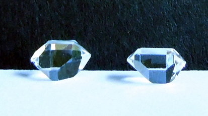 Perfect pair of Herkimer crystals.