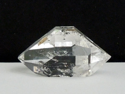 A natural double terminated quartz crystal.