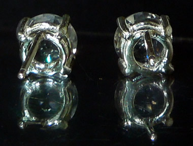 Back view of Herkimer crystal earrings.