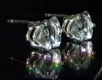 Trillion or trillian cut crystal earrings in silver.