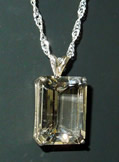 Emerald cut Herkimer Diamond pendant.