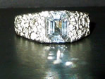Herkimer Diamond emerald cut men's ring.