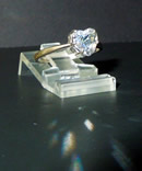 A 1.25 ct. heart shaped diamond ring.